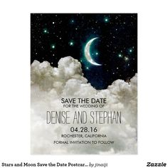 """Stars and Moon Save the Date Postcards Romantic vintage night sky save the date postcard with shining stars and moon. Perfect save the date for wedding themes: """"meant to be together"""" """"our love was written in stars"""" """"i love you to the moon and back"""" etc."""