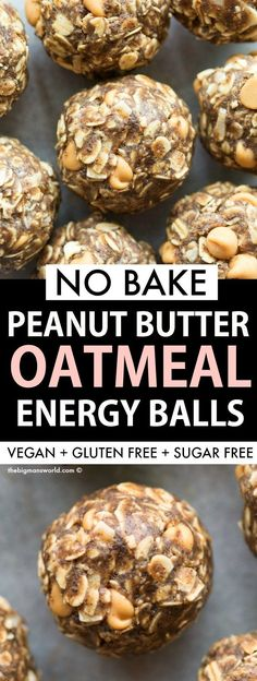 No Bake Oatmeal Energy Balls with peanut butter! A quick and easy recipe made with wholesome ingredients- No Bake Oatmeal Energy Balls with peanut butter! A quick and easy recipe made with wholesome ingredients- High protein, sugar free and dairy free! Peanut Butter Oatmeal, Peanut Butter Protein, Sugar Free Oatmeal, No Bake Oatmeal, Peanut Butter Energy Bites, Baked Oatmeal, High Protein Vegetarian Recipes, Healthy Recipes, Healthy Desserts