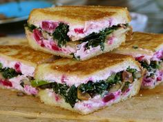 Kale, Mushroom and Beet Grilled Cheese