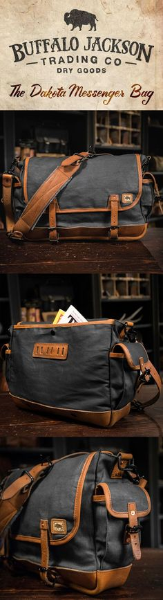 This traditional sized vintage military messenger bag is crafted from waxed canvas with leather accents, perfect for your laptop, meeting materials, and your copy of Harrison & Kooser's Braided Creek (to read during your meeting). Military Messenger Bag, Canvas Messenger Bag, Waxed Canvas Bag, Canvas Leather, Mode Masculine, Leather Men, Vintage Leather, Leather Bags, Leather Backpacks