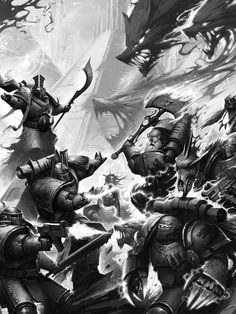 Space wolves vs thousand sons Warhammer 40k Space Wolves, Warhammer 40k Art, Warhammer Fantasy, Space Marine, Ork Warboss, Thousand Sons, The Horus Heresy, Military Art, Oeuvre D'art