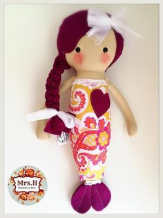 "Merbabies are 17"" tall and is made using designer fabric and 100% wool felt.Suitable from birth and carries the CE markA Mrs.H Handmade and more original design Doll No. 2014/091"