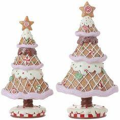 NEW RAZ 10.5 Inch Gingerbread Trees Christmas candy wonderland cw 3120678
