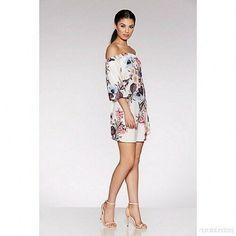 6f7f350bfe95 Quiz Cream Floral Print Bardot Tunic Dress Size UK 12 rrp 24.99 DH088 HH 01