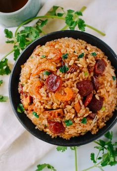 "Sticky Rice w/ Chinese Sausage, by <a href=""http://thewoksoflife.com"" rel=""nofollow"" target=""_blank"">thewoksoflife.com</a>"