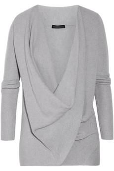 Draped cross-front cashmere sweater