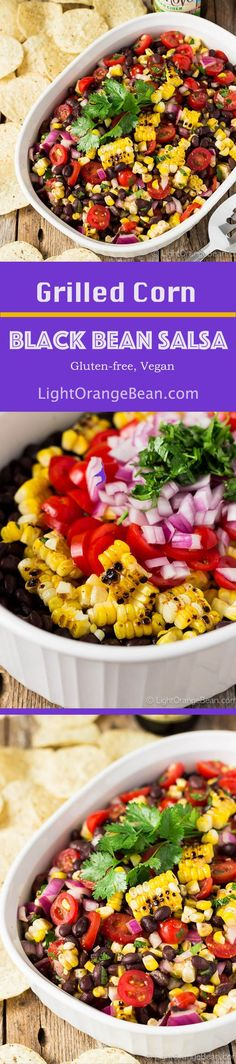 This grilled corn black bean salsa is enriched with strong pungent smoky flavor from the grilled corn.  It's a very tempting black bean salsa, so go easy on the tortilla chips.