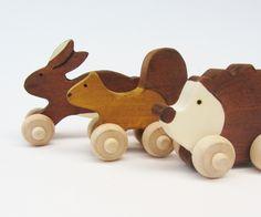 Woodland Animal Set- Eco Children Friendly Mini Push Toys- Waldorf Wooden.