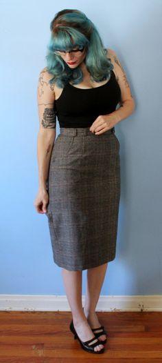 Vintage 1950's Pencil Skirt // Grey Plaid High by GeekBettyVintage