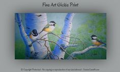 Gift for bird lovers, Fine Art print, Birch tree art, Yellow wall art, Laundry room decor, Nursery art, Yellow green decor. Original art by Denise Cunniff - ArtFromDenise.com