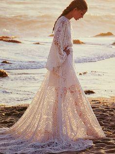 pretty long lace dress
