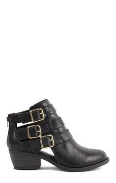 Deb Shops #Black Short Western #Booties with Gold #Buckles $23.34
