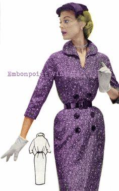 Vintage Sewing Pattern 1956 Wiggle Dress PDF by EmbonpointVintage