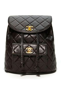 Vintage Chanel Black Quilted Leather Backpack