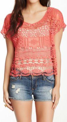 Coral Crochet Lace Top ♥