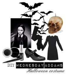 """""""Wednesday Addams"""" by katwhisky ❤ liked on Polyvore featuring Victoria Beckham, Gabor, Mary Kay and diycostume"""