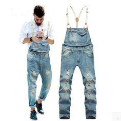 Los-hombres-Pantalones-Vaqueros-Rasgados-Azules-Mendigo-Pantalones-Largos-Con-Tirantes-Para-Hombre-Overol-de-Mezclilla.jpg (419×419)