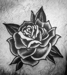 Upper Chest Black Rose Male Traditional Tattoos