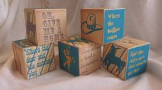 Cowboy Wild West Wagon 5 Wood Blocks Boys Nursery by TheBlockSpot, $22.50 Nursery Baby Shower Décor
