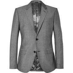 Alexander McQueen Grey Slim-Fit Wool and Mohair-Blend Suit Jacket ($1,295) ❤ liked on Polyvore featuring men's fashion, men's clothing, men's outerwear and men's jackets
