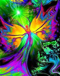 "Chakra Art Energy Healing Reiki Angel Wall Decor """"From Dark to Light"""":"