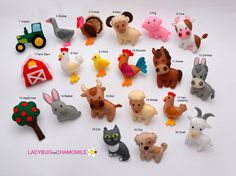 Any sorts of Handmade felt fabric Toys, Magnets, Ornaments and Crib mobiles. Fabric Toys, Felt Fabric, Make Your Own, Make It Yourself, Hens And Chicks, Handmade Felt, Felt Toys, Woodland Animals, Barnyard Animals
