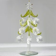LSArts Glass Christmas Tree with Wine Charm Ornaments Multicolored-8 inch No Model