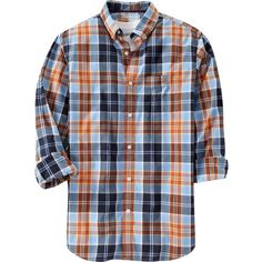 Old Navy Mens Everyday Classic Regular Fit Shirts - Large blue plaid (22 NZD) found on Polyvore