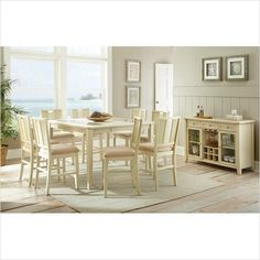 Steve Silver Company Melody Counter Height Dining Set in White | The Simple…