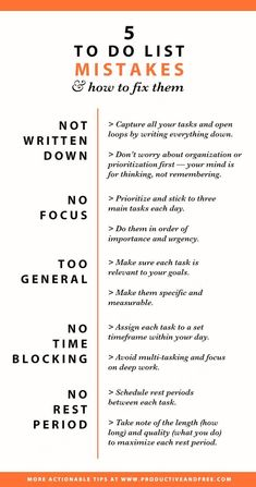 Infographic To do list mistakes and how to fix them Productivity Time management Self Development, Personal Development, Professional Development, Professional Goals, Motivation, Good Time Management, Effective Time Management, Time Management Planner, Time Management Quotes
