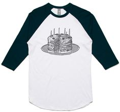 theIndie Birthday Cake (Black) 3/4-Sleeve Raglan Baseball T-Shirt