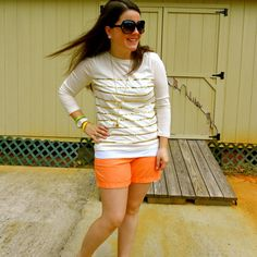 still being molly - orange chinos and sequins