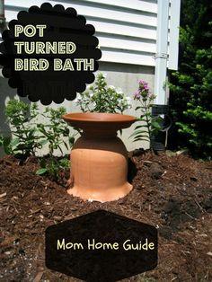 DIY Bird Bath From a Clay Garden Pot