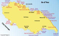 Plan des plages sur l'ile d'Yeu - Vendée