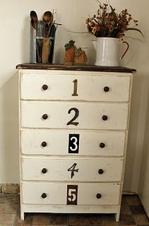 cute painted dresser with numbers