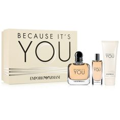 Emporio Armani 3-Pc. Because It's You Gift Set (465 HRK) ❤ liked on Polyvore featuring beauty products and no color