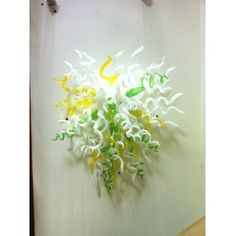 BGW3010-White yellow green multicolor glass wall lighting $420.00
