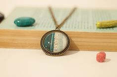 Green blue door photo necklace.  Bronze Glass Vintage Inspired Wearable Art Photography