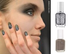 A Touch Of Glitter Glitter-dusted tips by Red Carpet Manicure created a moody moment on the Nicholas K runway. Proving the new French manicure is anything but sweet. Channel the grunge-glam finish with Essie's Chinchily and Set In Stones.