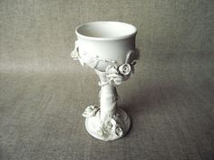 AVAILABLE IN 2 WEEKS - White Roses Goblet  Handmade Ceramics  - Stoneware  - White on Etsy, $55.56