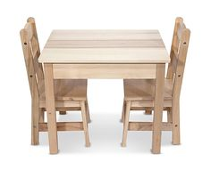 Pull one of the two durable chairs up to the child-size table--they're sized just right for kids, but strong enough to hold moms and dads too!