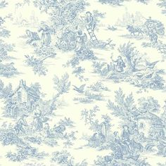York Wallcoverings AT4229 Inspired by Color Champagne Toile Wallpaper in Blue/White Green Removable Wallpaper, Traditional | Bellacor
