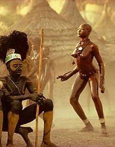 The love dance (Njertun). The Nuba of Kau, Sudan. Photo by Leni Riefenstahl, 1970's.
