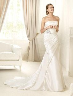 Fit & Flare Strapless Pleated Bodice Beaded Applique Satin Wedding Dress-wf0096, $249.95