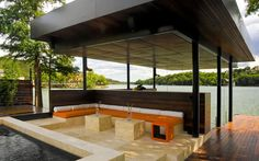 Modern Outdoor living space shared with a boat dock - YES.