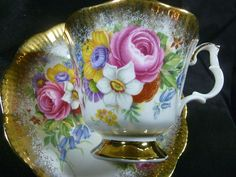 Royal Albert Tea Cup and Saucer Vintage Lush Rose Floral Rich Brushed Gold | eBay