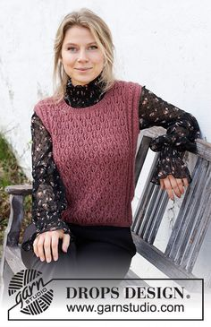 Drops Design, Knitting Patterns Free, Knit Patterns, Free Knitting, Knit Vest Pattern, Mohair Yarn, Alpacas, Work Tops, Crochet Fashion