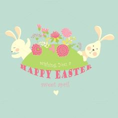 Easter bunnies with flowers by masastarus on Creative Market
