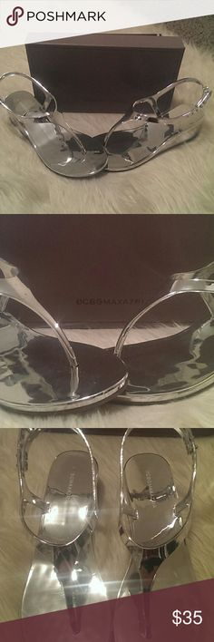 BCBG Maxazria Wedge Sandals NWT BCBG Mirror Wedge sandals! Comes with original box and packaging. Size 8. BCBGMaxAzria Shoes Sandals