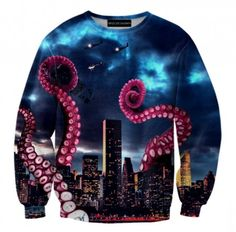 Kraken Attack  Sweatshirt. Beautifull sea life sweatshirt inspired by legend of KRAKEN. Brzpzowska fashion #brzozowskafashion #sweats #sweatshirt #jumper #kraken #oceanlife #ocean #octopus #legend
